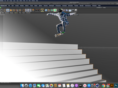 Working From Home wfh skateboard photoshop modelling c4d