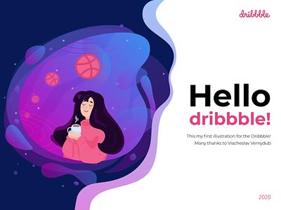 Hello Dribbble! I'm Lydia Nesmeshnaya dream tea girl space firstshot dribbble invite dribbble debut shot debut design vector illustration