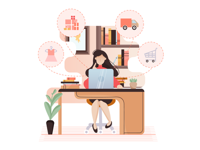 Stay home, buy things online! delivery online shop stay home girl dribbble buy home illustration