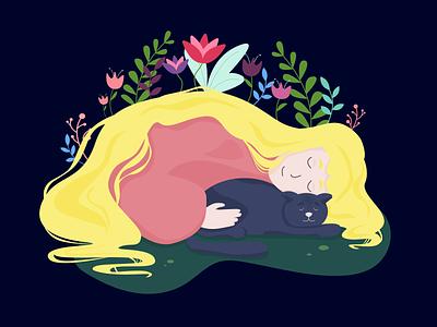 Silence at  home cat home dream girl dribbble illustration