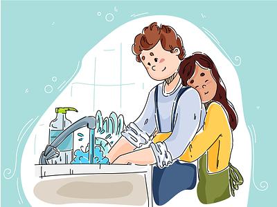 Male work home dream housework house family work design art vector illustrator illustration dribbble