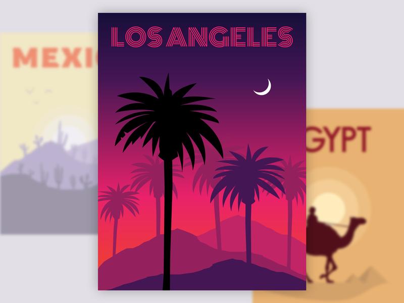 Travel Posters travel landscape landscape illustration vector flat illustration