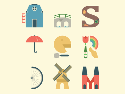 Amsterdam vector flat illustration