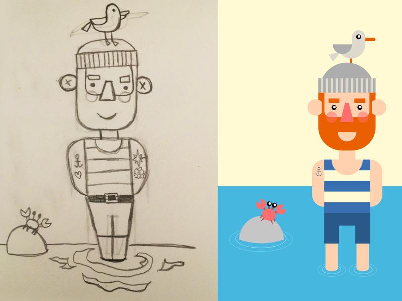 Sailor illustration sketch drawing vector sailor flat illustration