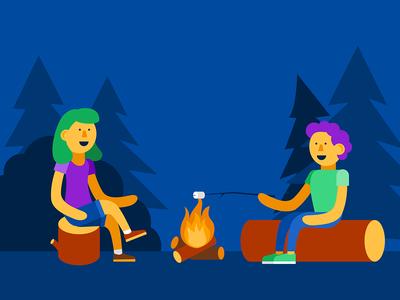 Illustration | Campfire vector flat illustration