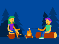 Illustration | Campfire vector flat illustration