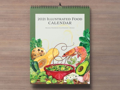 2021 Illustrated Food Calendar calendar design 2021 calendar calendar editorial botanical editorial illustration foodie hand lettering illustration editorial art food illustration food