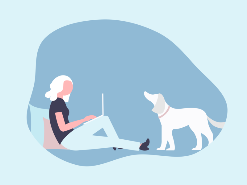 work from home comfortable laptop dog illustration dog girl character girl illustration girl people illustration digital illustration digitalart people colors minimal art character illustration