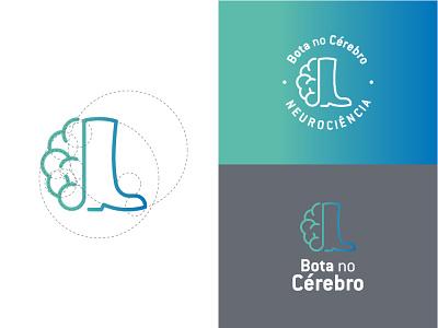 Bota no Cérebro minimal illustration icon vector flat logo design branding
