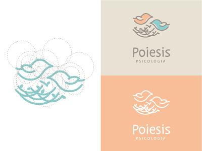 Poiesis Psicologia minimal lettering icon vector flat logo design branding