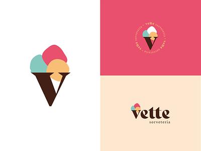 Vette Sorveteria icecream minimal icon vector flat logo design branding