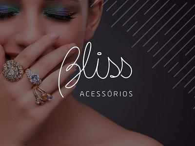 Bliss logo lettering flat design branding