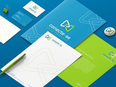 Conect-se Contabilidade Online icon vector flat logo design branding