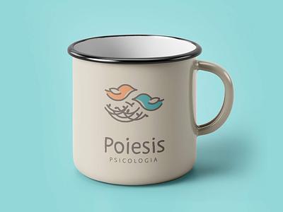 Poiesis Psicologia icon lettering vector flat logo design branding