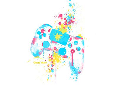 Ps4 Controller Color Splash video games gaming app gamer playstation5 sony playstation 4 photomanipulation photoshop graphic design design digital painting