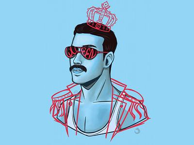 Freddie graphic design digital illustration digital painting freddie mercury queen music fanart design illustration
