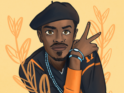 Andre 3000 texture procreate andre 3000 outkast music illustration graphic design digital painting fanart design digital illustration