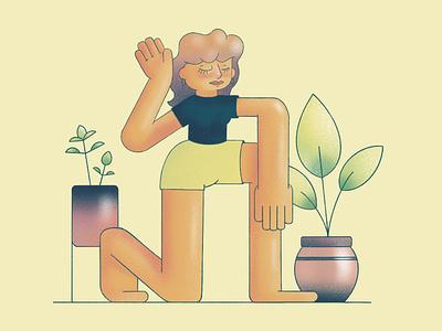 Grounding texture grainy plant illustration plants meditate yoga yoga pose character design character illustration