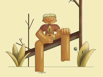 Stillness graphic design grainy meditation plants nature character procreate illustration