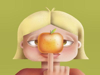 Vitamin C cute oranges orange plants grainy character procreate illustration design