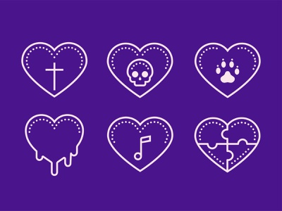 Dotted Icons of love cross track skull puzzle note hearts heart love design color icon set icons8 web illustration