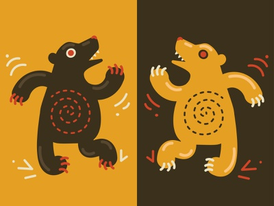 Flexing Bears Illustration flex dansing dance bears color stile web vector illustration icons8 fun design