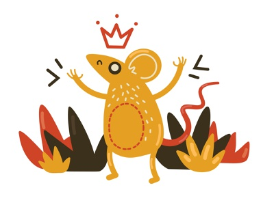 The Mouse King Illustration web design mouse king angry 2d illustration icons8 fun color web vector illustration design