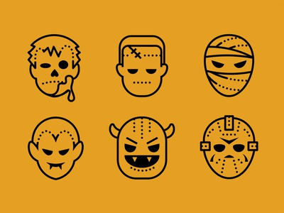 Dotted. Halloween icons set