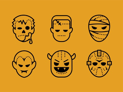 Dotted. Halloween icons set mask frankenstein troll mummy vampire zombie icon set vector art halloween icons8 2d illustration web vector design