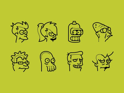 Futurama icons set