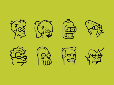Futurama icons set branding futurama icon icon set stile icons8 fun 2d illustration illustration web vector design