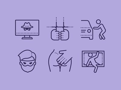 Crime icons set icons crime icon set color icons8 fun illustration web vector design