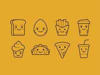 Dotted Icons of Kawaii Food