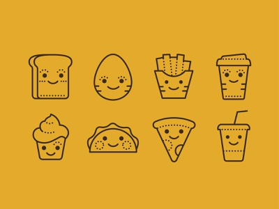 Dotted Icons of Kawaii Food inktober2019 egg cupcake coffe pizza cola food icons icon set icons8 fun illustration web vector design