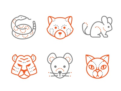 Dotted Icons of Animals panda mouse cat chinchilla tiger animals icon set 2d illustration icons8 web illustration vector design