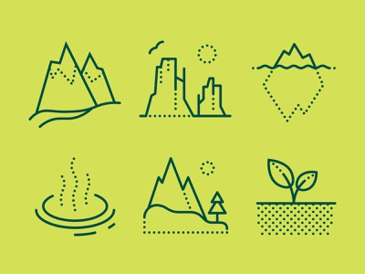 Dotted Icons of Nature soil alps iceberg canyon nature icon set icons8 illustration vector design