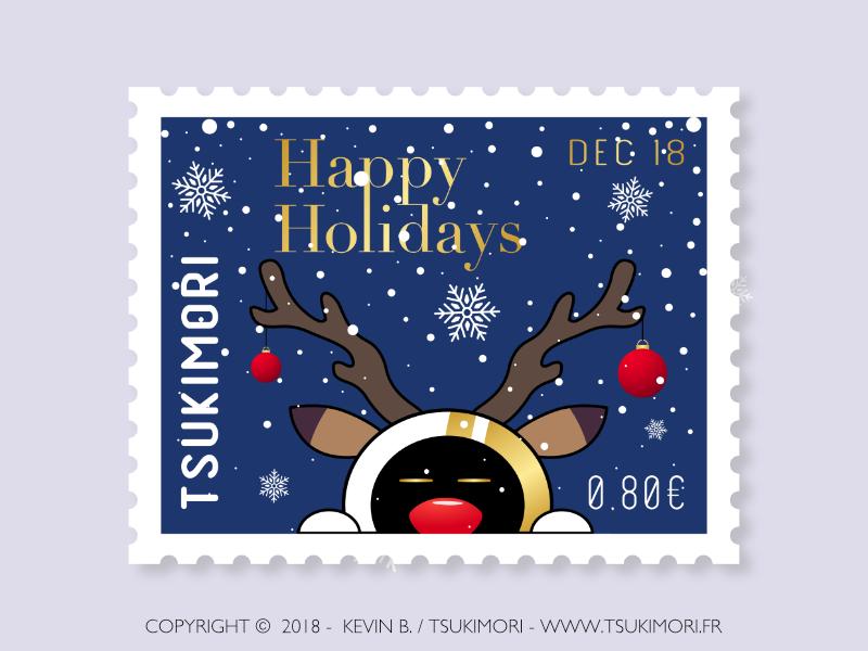 Happy holidays timbre stamp mascotte mascot illustration joyeux noël noël happy holidays merry christmas christmas
