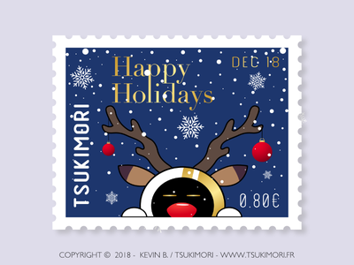 Happy holidays timbre stamp mascotte mascot illustration joyeux noël noël happy holidays merry christmas christmas