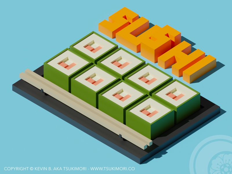 Sushi Time - Blender 3D and Augmented Reality low poly lowpoly cute sushi blender3d blender 3d blender isometric illustration isometric design isometric art isometric iso augmented reality augmentedreality ar 3d art 3d