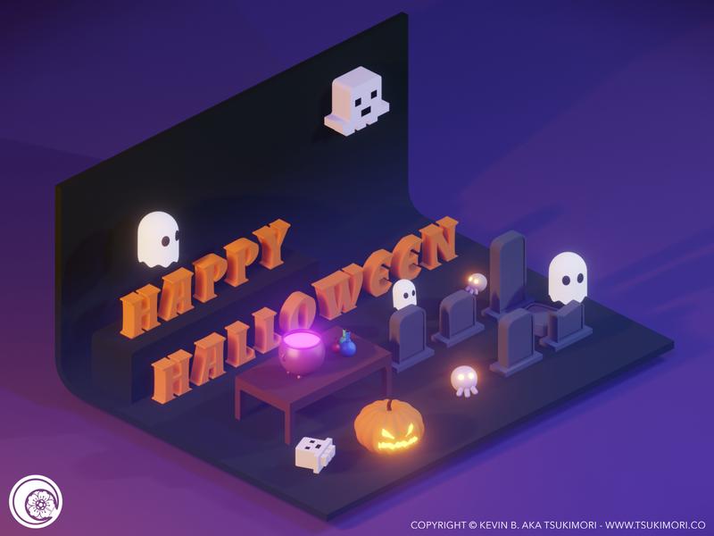 Happy Halloween 2019 blender 3d blender3d blender isometric low poly lowpoly 3d happy halloween halloween