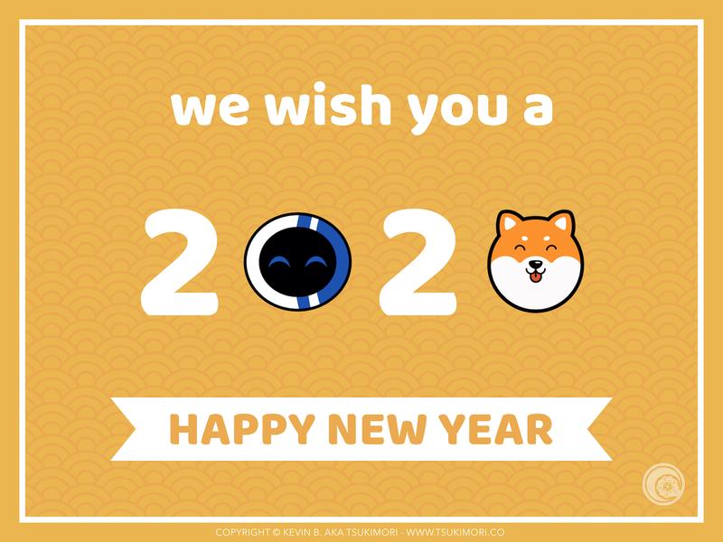 Happy New Year 2020 cute happy new year mascot illustration