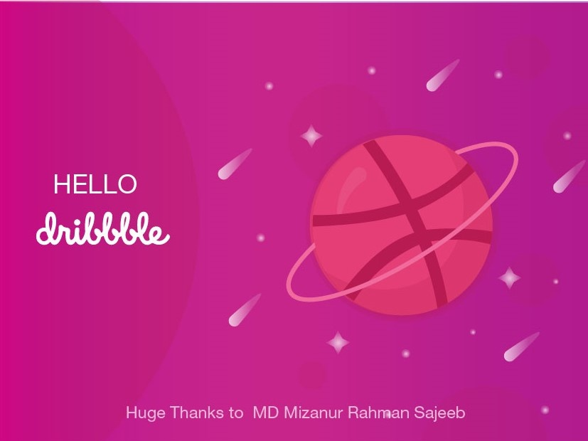 Hello Dribbble! debut shot hello dribble first post planet space design vector illustration hellodribbble firstshot dribbble dribbble invite