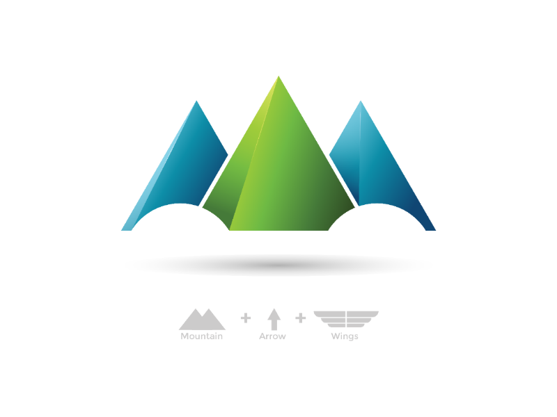 Mountain Arrow web wings startup logo nature modern mountain logo mountain illustration gradient graphic design eye catching company logo corporate identity branding logo awesome logo design logo arrow 3d logo
