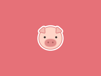 Piggie face sticker icon illustration beautiful pastel chubby flat sweet cute sticker pink pig baby