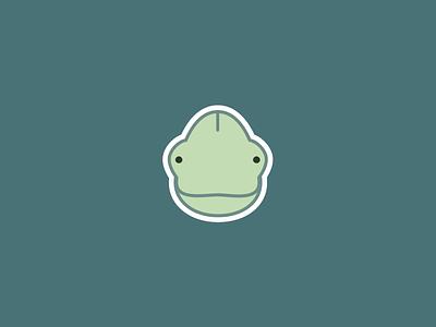 Chameleon sticker icon illustration beautiful pastel chubby flat sweet cute sticker green chameleon baby