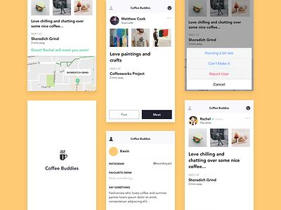 Coffee Buddies iOS app swipe yellow mvp app social meetups ux ui design flat ios coffee