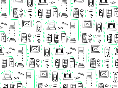 Build Ship Love Pattern love build mockup icons green vibrant wireframes cute drawing illustration pattern