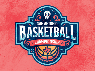 San Antonio Basketball Championship Logo sports design championship tounament sports logo basketball vector sports sugarskull texas red design blue logo illustration