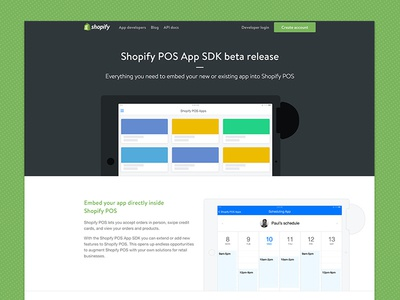 Shopify Pos App SDK web schedule ipad ios pos tablet design landing-page
