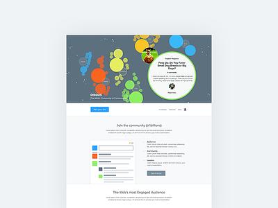 Disqus Homepage Redesign homepage marketing ux design data visualization d3 web flat circles disqus retina